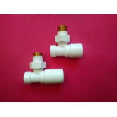 белый угловой кран для полотенцесушителя