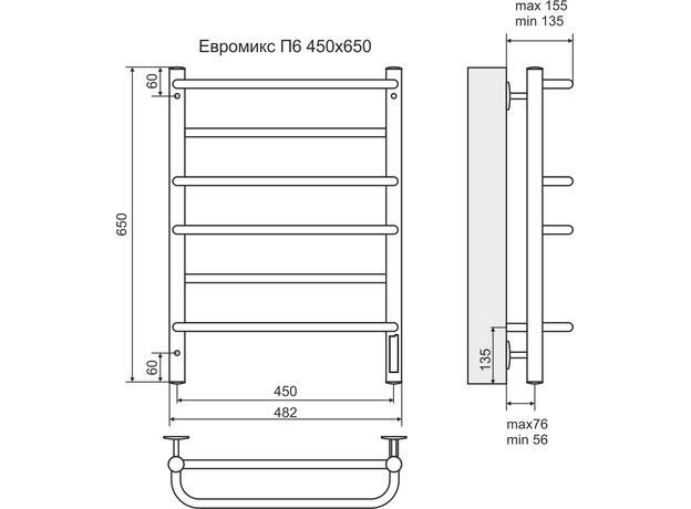 Полотенцесушитель Terminus Евромикс электро П6 482х650