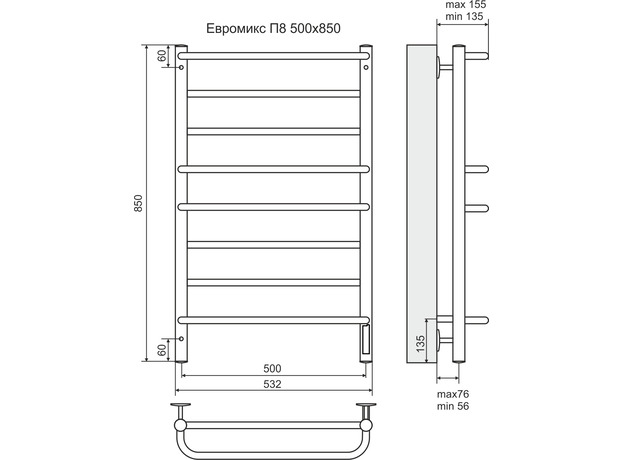 Полотенцесушитель Terminus Евромикс электро П8 532х800