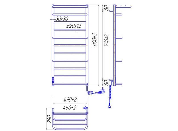 Электрический Mario Люксор ITR 1100х500, регулятор и таймер