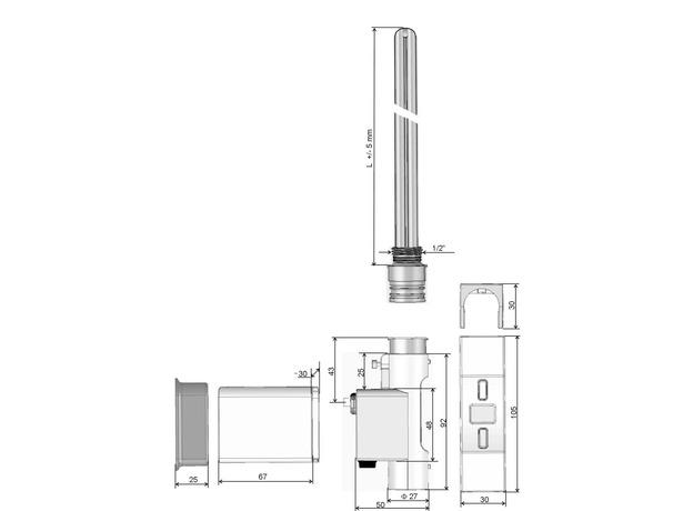 ТЭН для полотенцесушителя HEATPOL H+E, черный, скрытое подключение