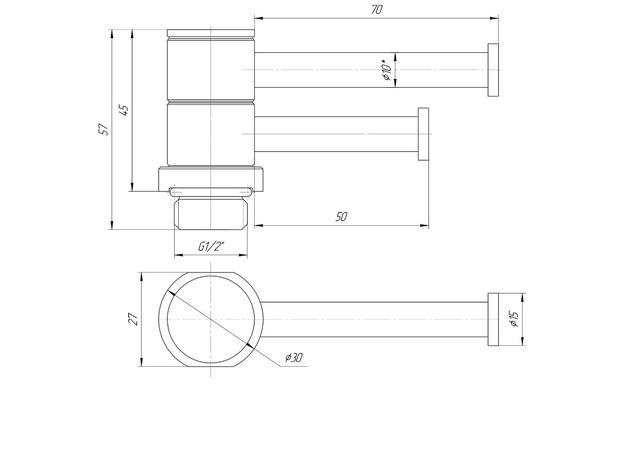 Полка поворотная для полотенцесушителя L70/50, Марио