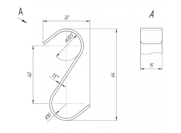 Крючок навесной 28x60 мм, 2 штуки
